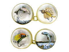 'Leaping Salmon, Trout & Flies' <br> New Handmade Gold & Rock Crystal Cufflinks