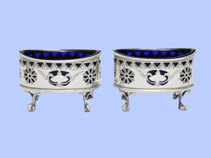 Pair of Victorian Oval Silver Salt Cellars
