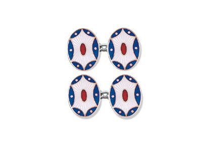 Silver Blue, White & Red 'Splat' Enamel Cufflinks