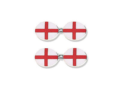 Silver Cufflinks Enamelled with England's St. George's Flag