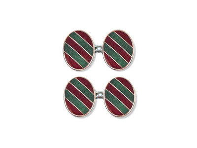 Silver Red & Green Striped Enamel Cufflinks