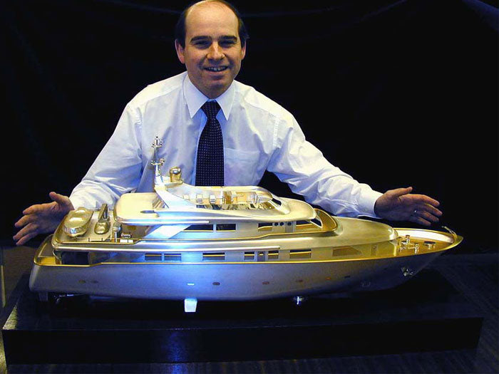 Silver Model of the Superyacht 'Tully'