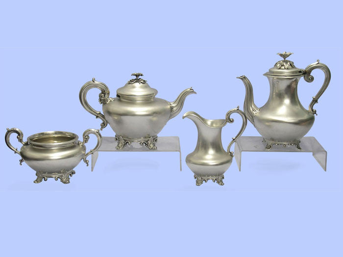 Victorian Silver Teaset with William IV Silver Coffee Pot