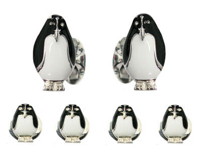 Silver and Enamel 'Penguin' Tuxedo Set