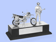 Silver Model of a Royal Military Policeman With Armstrong Motorcycle