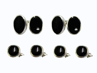 Oval Silver and Onyx Tuxedo Set