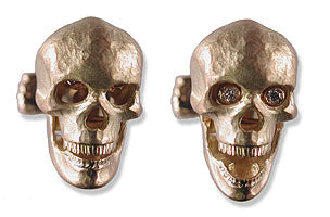 18k Gold Skull Cufflinks with Diamond Eye