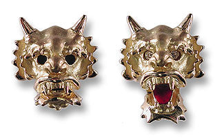 18k Gold Chinese Dragon Cufflinks with Diamond Eyes and Red Tongue