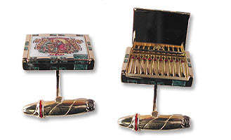 18K Gold Cufflinks with Hinged Cigar Box & Ten Miniature Cigars