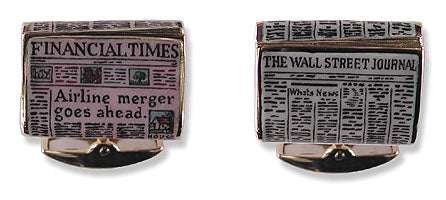 18k Gold Cufflinks with Hand-Enamelled Newspapers