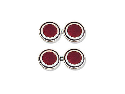 Silver Black and White Border, Red Centre Enamel Cufflinks