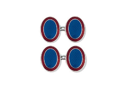 Silver Blue Enamel Cufflinks with Red Border