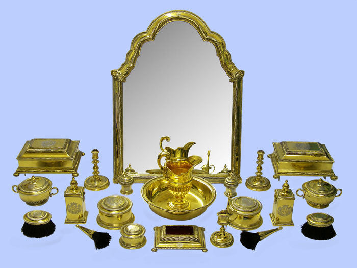 Magnificent Twenty-Two Piece Silver-Gilt Dressing Table Service