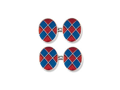 Silver Red and Blue Diamond Enamel Cufflinks