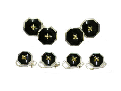 Octagonal Silver and 18k Gold Onyx Tuxedo Set
