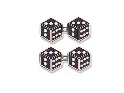 Silver Cufflinks Enamelled As Flat Dice