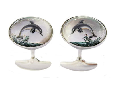 'Leaping Dolphins' <br>New Handmade Gold & Rock Crystal Cufflinks