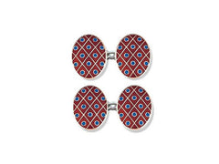 Silver Red Diamond & Blue Spot Enamel Cufflinks