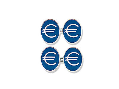 Silver Cufflinks Enamelled with the Euro Symbol