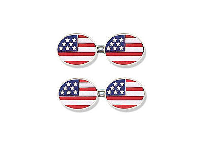 Silver 'Stars and Stripes' Enamel Cufflinks