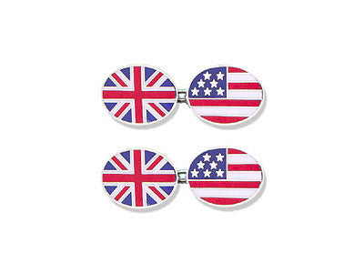 Silver 'Union Jack' and 'Stars and Stripes' Enamel Cufflinks