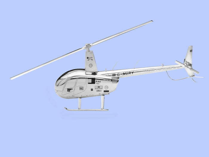 Silver Model of the Robinson R44 Helicopter