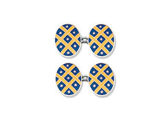 Silver Blue Enamel Cufflinks With Yellow Lattice