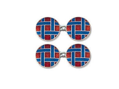 Silver Round Red Enamel Cufflinks With Blue Lattice