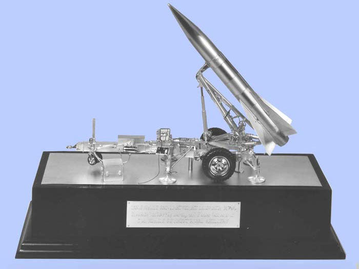Silver Model of a Lance Missile on a Lightweight Launcher