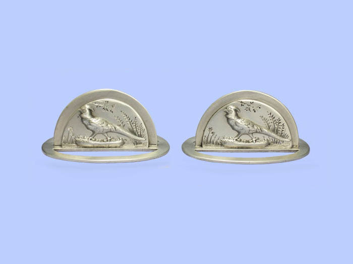 Pair of Silver 'Pheasant' Placecard Holders