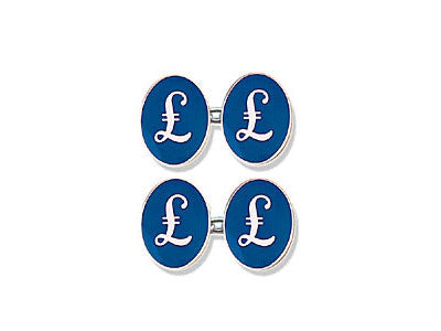 Hand Enamelled British Pound Cufflinks Mp Levene