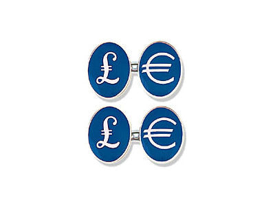 Silver Cufflinks Enamelled with British Pounds and Euro Symbols