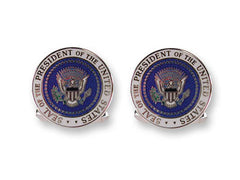 Silver Cufflinks enamelled with the US Presidential Seal