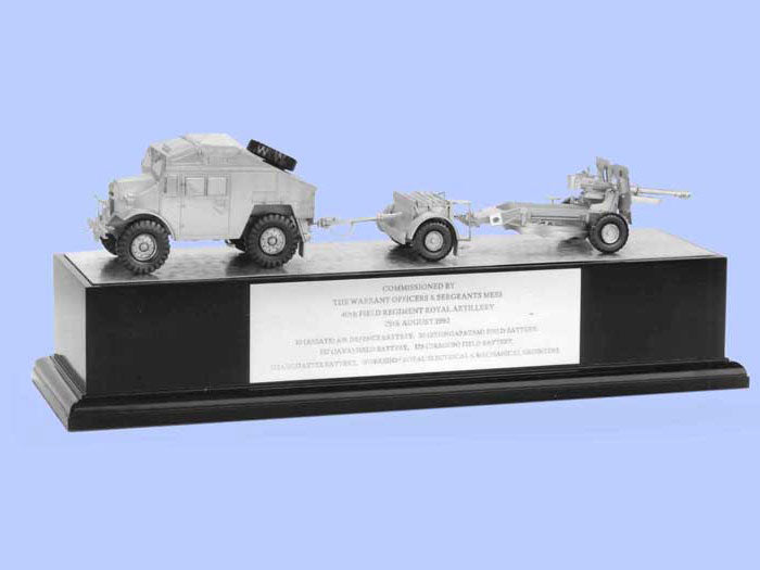 Silver Model of the 25 Pdr Gun, Quad and Limber