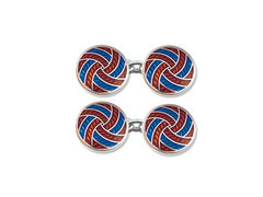 Silver Red & Blue Enamel 'Swirl' Cufflinks