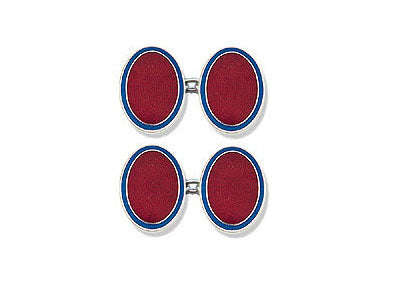 Silver Blue Border & Red Centre Enamel Cufflinks