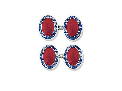 Silver Blue Greek Key & Red Centre Enamel Cufflinks