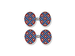 Silver Red Enamel Cufflinks with Blue Lattice