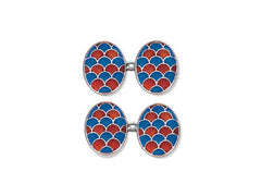 Silver Red & Blue Enamel 'Fan' Cufflinks
