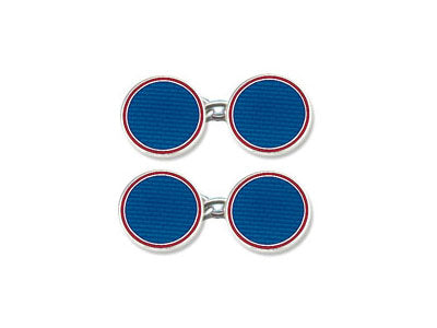 Silver Round Blue Enamel Cufflinks with Red Border