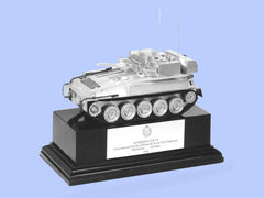 Silver Model of the Scorpion Reconnaissance Vehicle