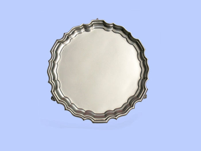 Small Silver Salver with 'Chippendale' Border