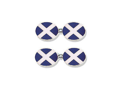 Silver Cufflinks Enamelled with Scotland's Flag, 'St Andrew's Cross'