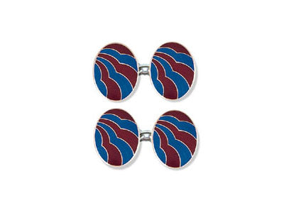 Silver Red & Blue Enamel 'Cloud' Cufflinks
