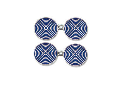 Silver Blue Concentric Circle Enamel Cufflinks