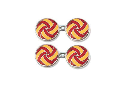 Silver, Red & Yellow Cufflinks