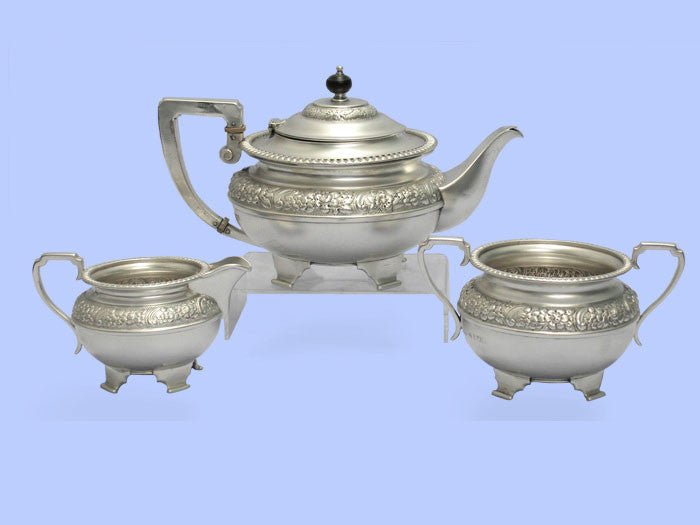 Edwardian Three-Piece Silver Teaset