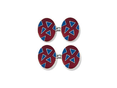 Silver Red Enamel Cufflinks with Blue Triangles