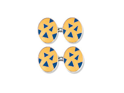 Silver Yellow Enamel Cufflinks with Blue Triangles