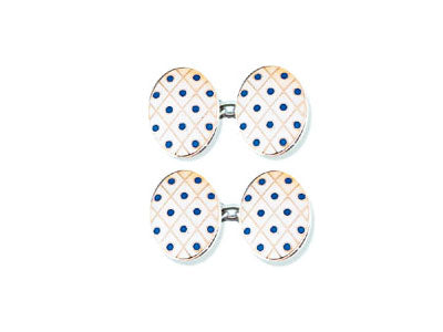 Silver White Diamond Enamel Cufflinks With Blue Spots